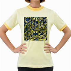 Blue and yellow decor Women s Fitted Ringer T-Shirts