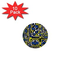 Blue and yellow decor 1  Mini Buttons (10 pack)
