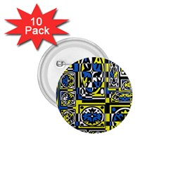 Blue and yellow decor 1.75  Buttons (10 pack)