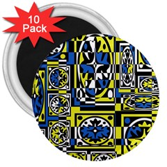Blue and yellow decor 3  Magnets (10 pack)