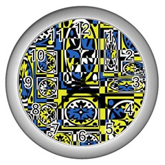 Blue and yellow decor Wall Clocks (Silver)