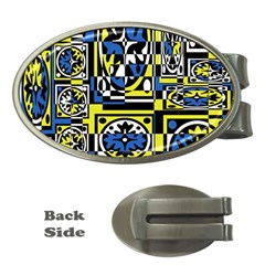 Blue and yellow decor Money Clips (Oval)