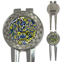 Blue and yellow decor 3-in-1 Golf Divots