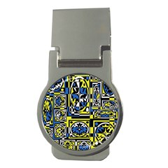Blue and yellow decor Money Clips (Round)
