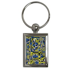 Blue and yellow decor Key Chains (Rectangle)