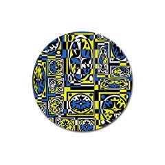 Blue and yellow decor Magnet 3  (Round)