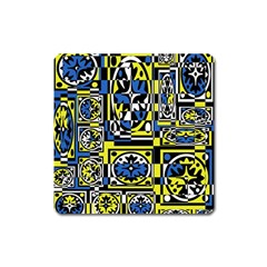 Blue and yellow decor Square Magnet