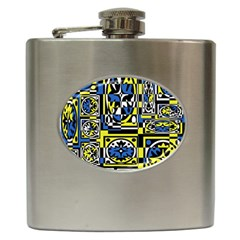 Blue and yellow decor Hip Flask (6 oz)