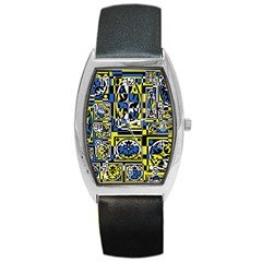 Blue and yellow decor Barrel Style Metal Watch