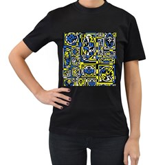 Blue and yellow decor Women s T-Shirt (Black) (Two Sided)
