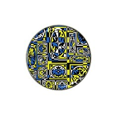 Blue and yellow decor Hat Clip Ball Marker (4 pack)