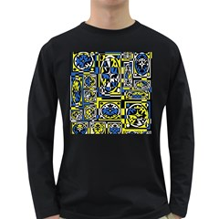 Blue and yellow decor Long Sleeve Dark T-Shirts