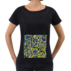 Blue and yellow decor Women s Loose-Fit T-Shirt (Black)