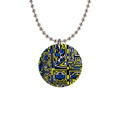 Blue and yellow decor Button Necklaces