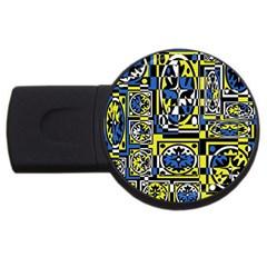 Blue and yellow decor USB Flash Drive Round (4 GB)
