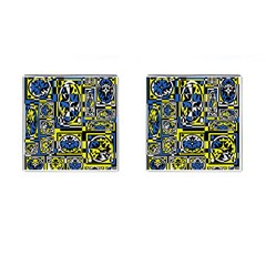 Blue and yellow decor Cufflinks (Square)