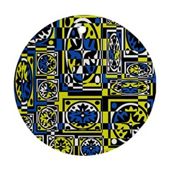 Blue and yellow decor Round Ornament (Two Sides)