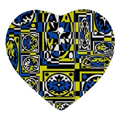 Blue and yellow decor Heart Ornament (2 Sides)
