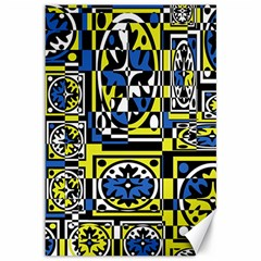 Blue and yellow decor Canvas 12  x 18