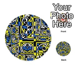Blue and yellow decor Playing Cards 54 (Round)