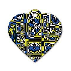 Blue and yellow decor Dog Tag Heart (One Side)