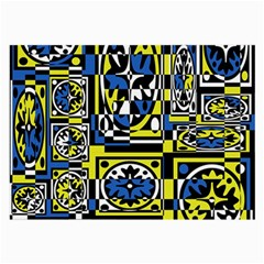 Blue and yellow decor Large Glasses Cloth (2-Side)