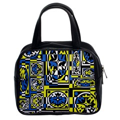 Blue and yellow decor Classic Handbags (2 Sides)