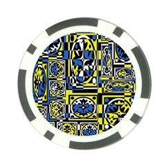 Blue and yellow decor Poker Chip Card Guards (10 pack)
