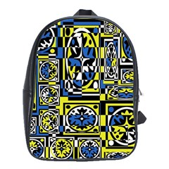 Blue and yellow decor School Bags(Large)