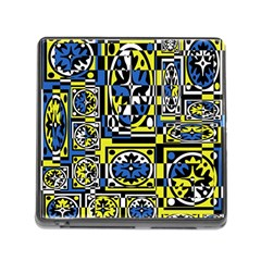 Blue and yellow decor Memory Card Reader (Square)