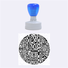 Blue and yellow decor Rubber Round Stamps (Medium)