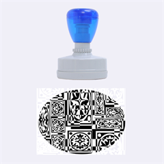 Blue And Yellow Decor Rubber Oval Stamps