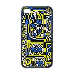 Blue and yellow decor Apple iPhone 4 Case (Black)