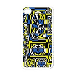 Blue and yellow decor Apple iPhone 4 Case (White)