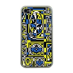Blue and yellow decor Apple iPhone 4 Case (Clear)