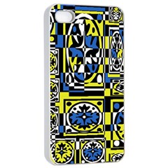 Blue and yellow decor Apple iPhone 4/4s Seamless Case (White)