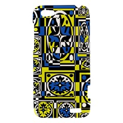 Blue and yellow decor HTC One V Hardshell Case