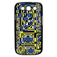 Blue and yellow decor Samsung Galaxy S III Case (Black)