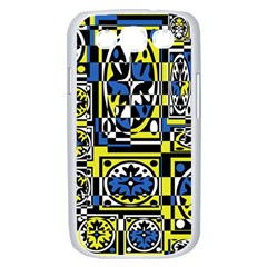 Blue and yellow decor Samsung Galaxy S III Case (White)