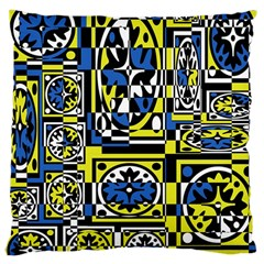 Blue and yellow decor Large Cushion Case (One Side)