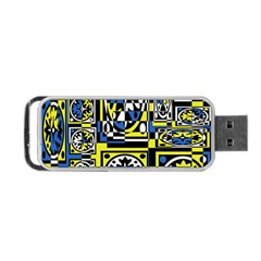 Blue and yellow decor Portable USB Flash (Two Sides)