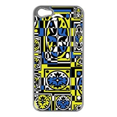 Blue and yellow decor Apple iPhone 5 Case (Silver)