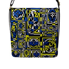 Blue and yellow decor Flap Messenger Bag (L)
