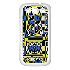 Blue and yellow decor Samsung Galaxy S3 Back Case (White)