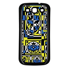 Blue and yellow decor Samsung Galaxy S3 Back Case (Black)