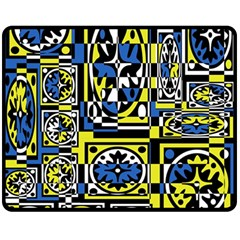 Blue and yellow decor Double Sided Fleece Blanket (Medium)