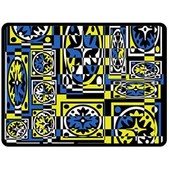 Blue and yellow decor Double Sided Fleece Blanket (Large)