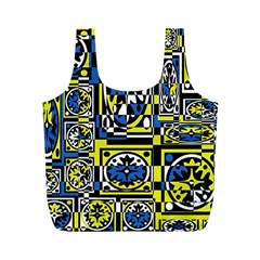 Blue and yellow decor Full Print Recycle Bags (M)