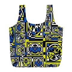 Blue and yellow decor Full Print Recycle Bags (L)