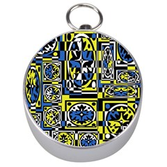 Blue and yellow decor Silver Compasses